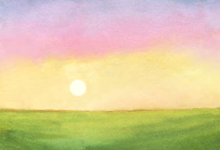 watercolor sunrise illustration. abstract watercolor background with green field and rising sun on colorful sky