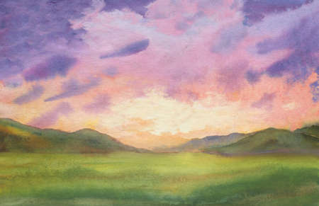 sunset watercolor landscape with purple clouds in the sky background. outdoor evening landscape with green grass and colorful sunset sky