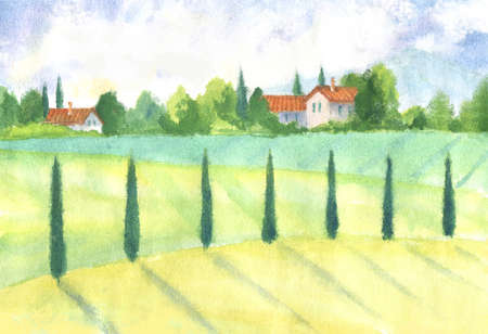 watercolor old village landscape with trees, vintage farmhouses. farmland hand paint illustration Stock Photo
