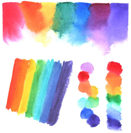 set of watercolor spectrum on white. hand paint illustration