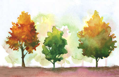 watercolor autumn trees. fall park theme illustration with orange, yellow, green colors. abstract autumn landscape with multi color trees.