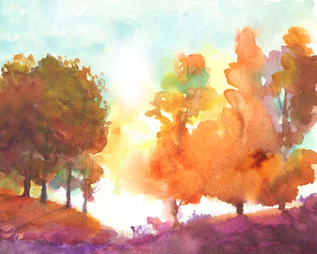 watercolor autumn trees. fall park theme illustration with orange, yellow, green, purple colors. abstract autumn landscape with  multi color trees. Stock Photo