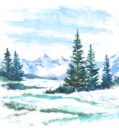 Watercolor landscape with firs and mountains. Winter spruces and snow natural background Stock Photo