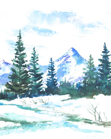 Watercolor landscape with firs and mountains. Winter nature background Stock Photo