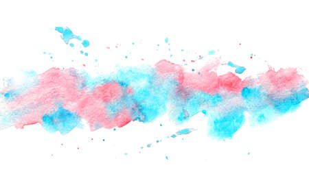 Watercolor Background. Colorful abstract water color art pink and blue aqua hand paint