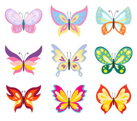 Set various color butterflies on a white background, no gradients and effects, color drawing butterfly vector