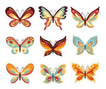 Set of vector cartoon butterflies on white. Various shapes of wings of butterfly and decoration on them.