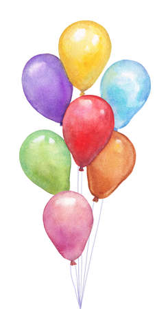 A bunch of colorful balloons inflatable, watercolor, hand drawn illustration. Stock Photo