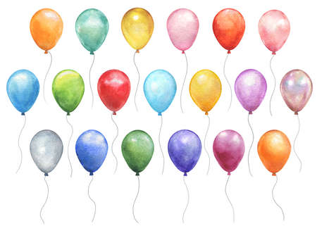 Watercolor colorful holiday sketch realistic balloons set closeup isolated on white background. Hand painting on paper