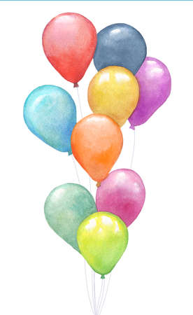 Watercolor colorful holiday bunch of balloons closeup isolated on white background. Hand painting on paper Archivio Fotografico