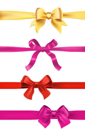 Set of various gift bows with ribbons isolated on white. Vector.