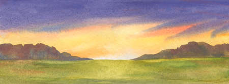 Panoramic abstract illustration of sunset over grass field. Watercolor handmade drawing