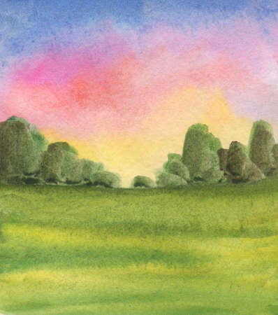 Abstract watercolor landscape background with sunrise colors, trees, green grass field. Handmade illustration