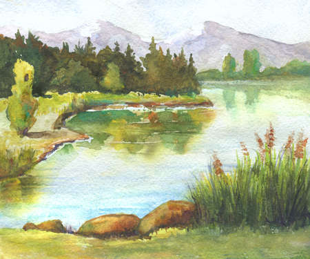 River with reeds, trees reflection watercolor landscape handmade illustration Stock Photo