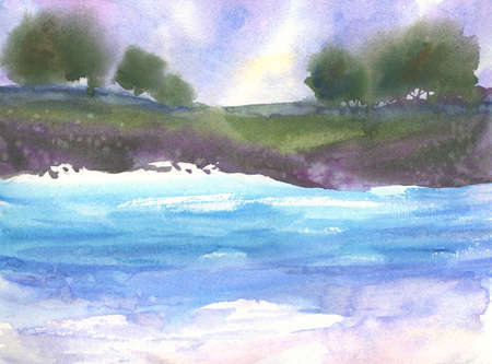 Watercolor landscape with trees, sky with clouds, blue lake with waves abstract painting Stock Photo