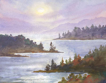 watercolor landscape with lake or river, distant trees, morning sun. travel or hiking theme illustration