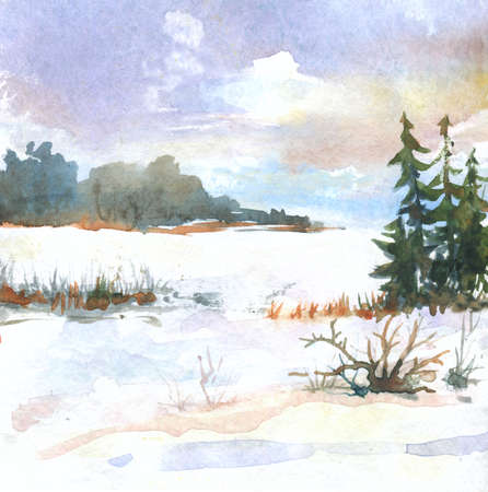 watercolor winter landscape with fir trees, distant clouds. hand drawn illustration