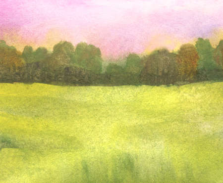 sunrise abstract watercolor landscape with green grass field, pink sky and distant trees Stock Photo