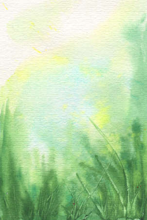 abstract watercolor vertical background with green grass and blue sky