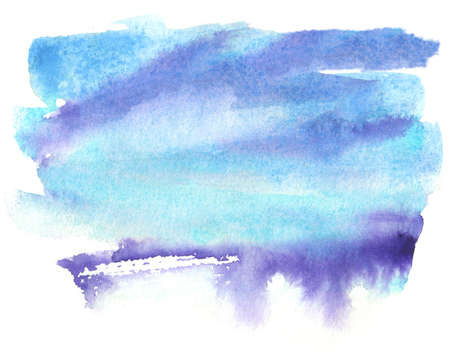 watercolor splash with sky colors, blue, violet and turqoise on white