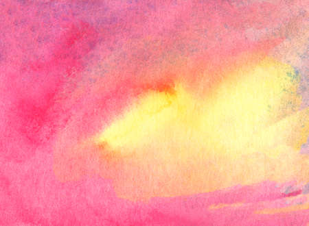 watercolor abstract background with yellow and pink colors Stock Photo