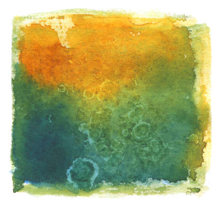 Abstract green and yellow textured watercolor background
