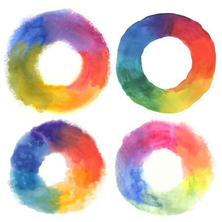 watercolor set of color wheels on white Stock Photo