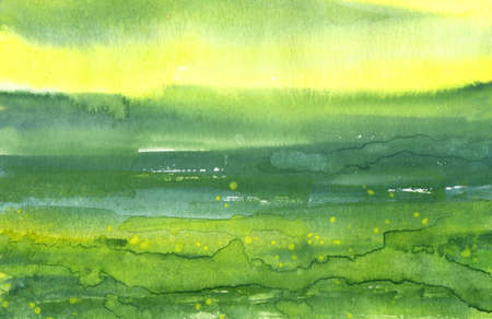 abstract green and yellow watercolor strokes background Stock Photo