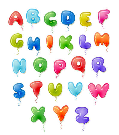 Balloon colorful ABC for children, for birthday party, baby shower, capital bubble letters A to Z. Font for kids, alphabet  design