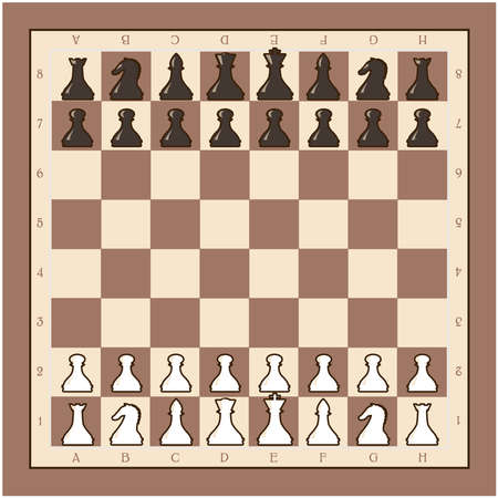 Chess board with black and white figures vector illustration Illustration
