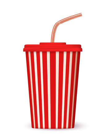 Blank realistic vector cinema cola cup with red stripes and straw. Isolated on white background. Illustration