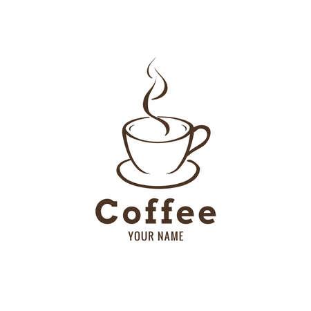 coffee or tea logo design. simple line art vector illustration