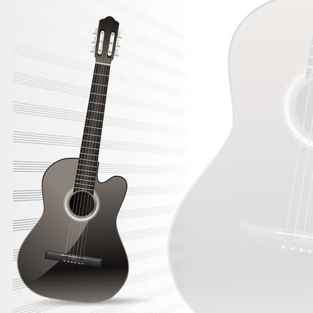acoustic guitar with note sheet musical vector background