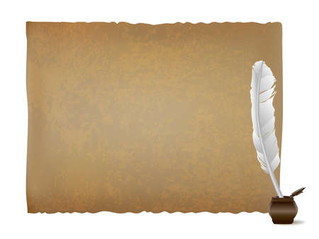 Horizontal ancient papyrus sheet and white feather quill and wooden inkwell. Ancient scroll background
