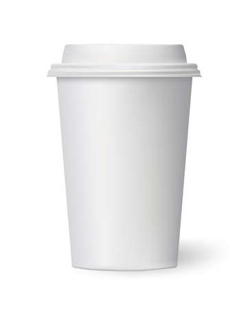 white coffee cup to go on white background. vector illustration Illustration