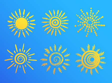 set of sun drawings on blue sky background. vector illustration
