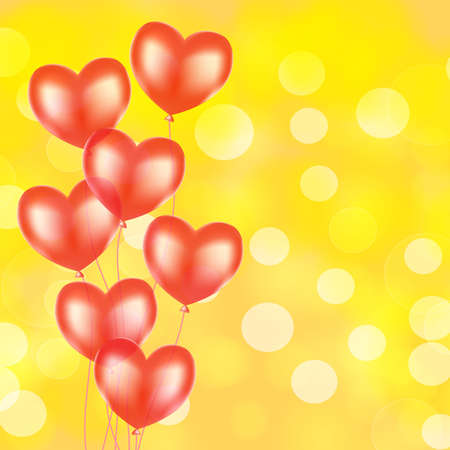 Red balloons with heart shape over golden glittering with bokeh background. Romantic, love, event, celebration holiday background vector illustration Illustration