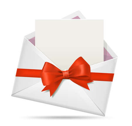 Open envelope with greeting card, with wrapping red bow realistic vector illustration.