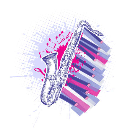 saxophone drawing and piano keys jazz music composition. vector illustration Illustration