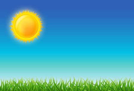 Cartoon bright sun on blue sky with green grass. vector illustration Illustration