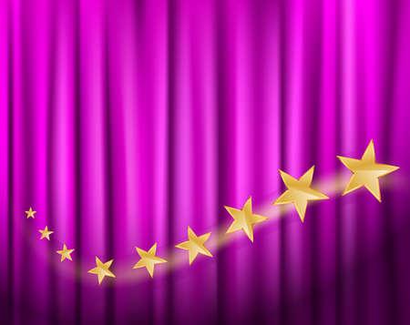 golden stars flying over purple curtain. vector illustration