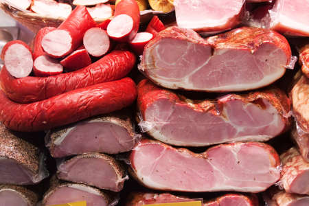 Meat and sausages on shopwindow at the european market