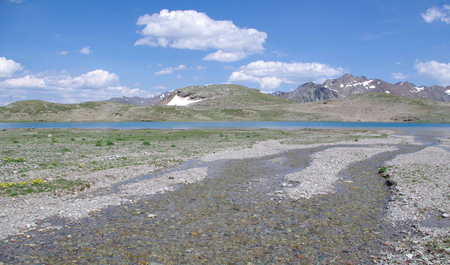 thaw: Alpine plateau with glacial debris, two to the thaw of glaciers and the global warming. Stock Photo