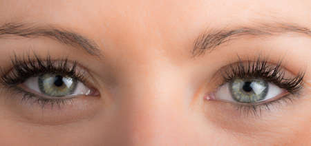 detail of eyes of the girl with long eyelashes Stock Photo
