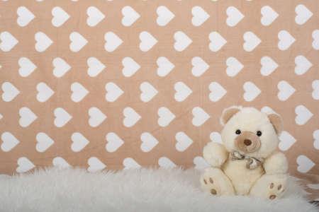 teddy bear love: teddy bear on a beige background Stock Photo