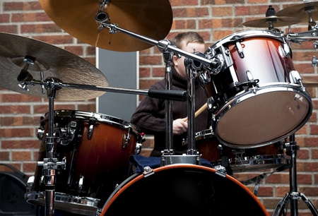bass drum: Drum kit ,- shallow depth of field