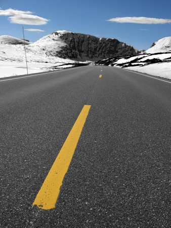 rural road in norway during winter time Stock Photo - 10105428