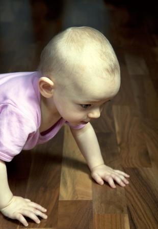 12 month old: 12 mesi bambina crawling bambino su un pavimento di legno