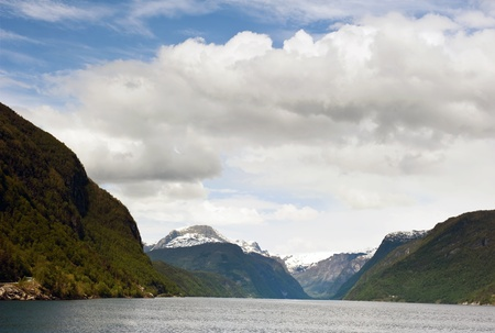 hardanger: View of the Hardanger fjord in Norway  Stock Photo