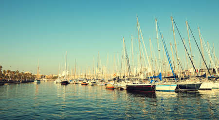 moorings: Rows of small yachts and pleasure craft moored at Port Vell,Barcelona,Spain